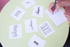 "Multiple notecards with the word ""IDEAS"" in different fonts to signify brainstorming, which is very important for video production."